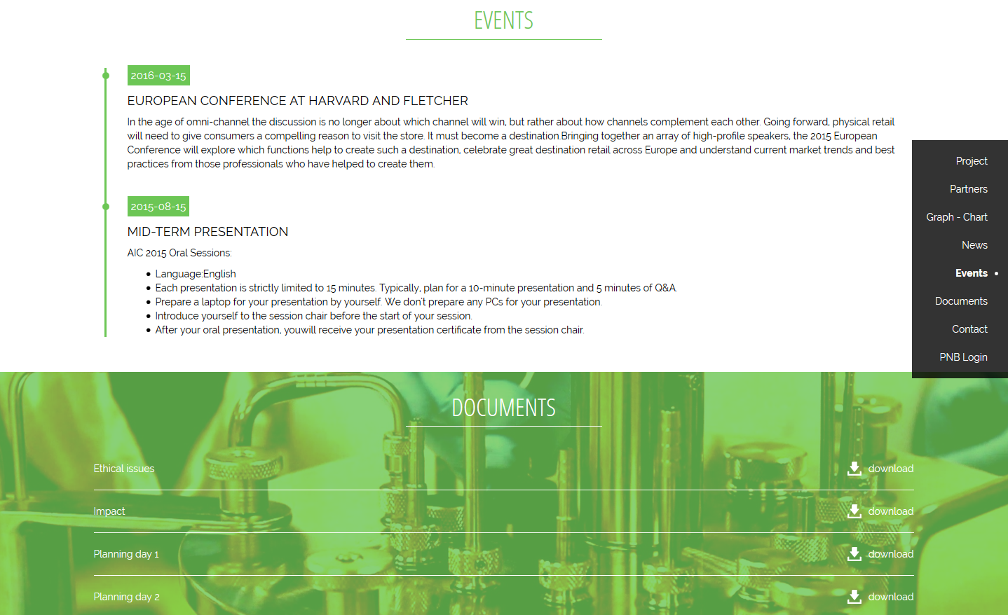 One page public website - Events & documents