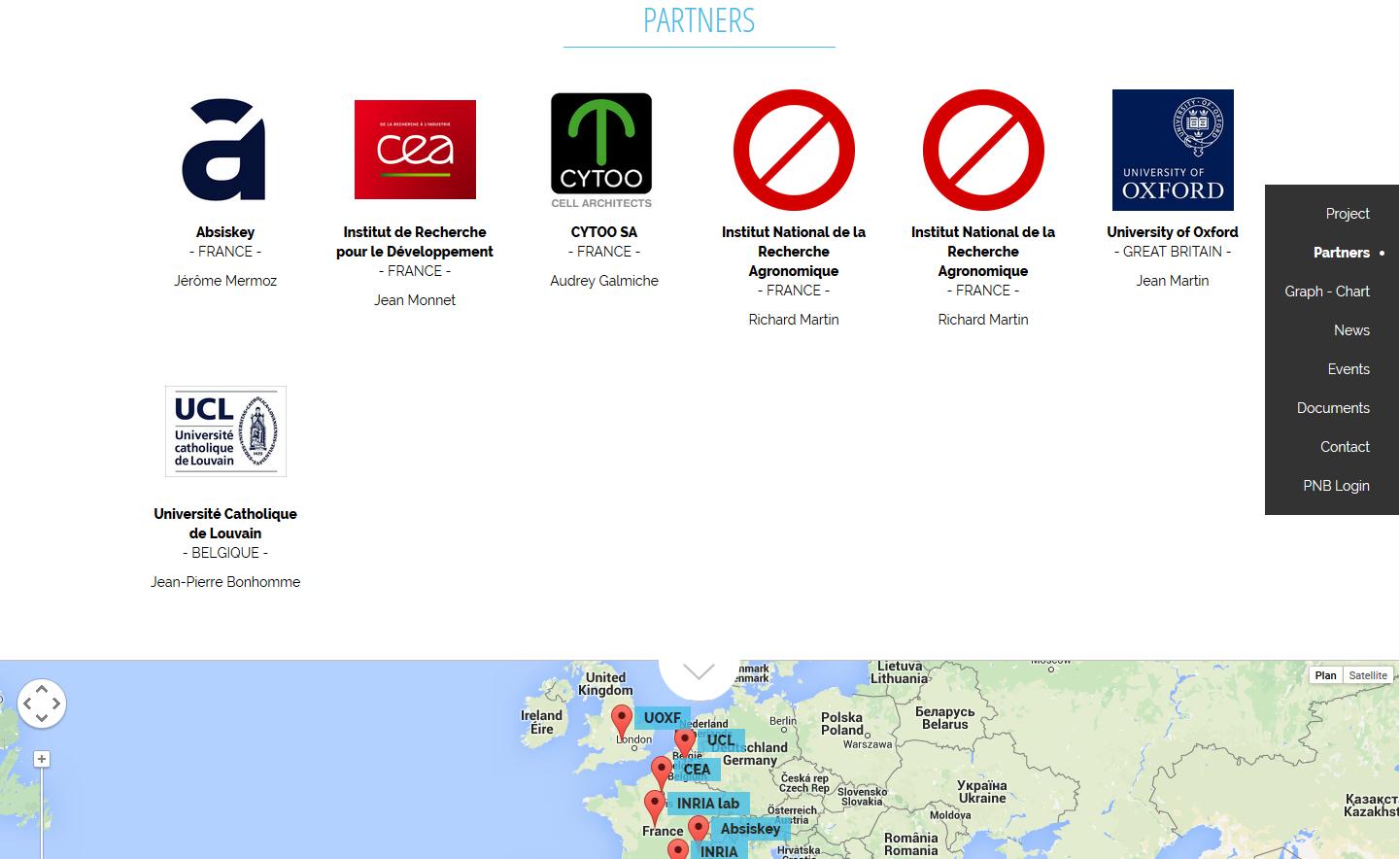 One page public web site - Partners