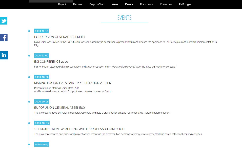 Site web public One page - Evénements